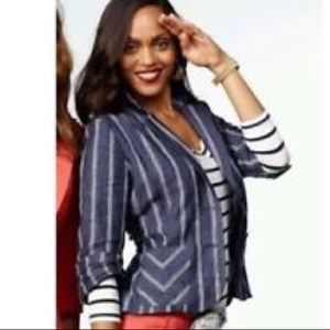 CAbi 100% Linen Blue Nautical Stripe Blazer Jacket